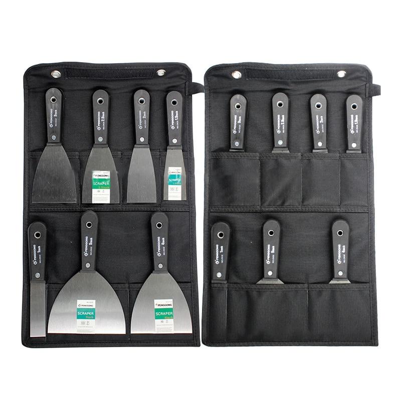 7pcs set di spatole 1, 1,5, 2, 2,5, 3, 4, 5 pollici in acciaio inox spatola vernice spatola spatola raschietto, set di spatole con borsa degli attrezzi