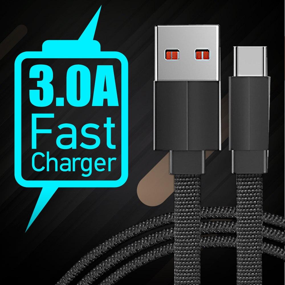 FBYEG 3A USB Type C câble pour Samsung S10 S9 Charge rapide 3.0 USB C câble Charge rapide pour Xiaomi Huawei USB-C chargeur fil