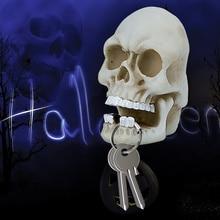 Accesorios para Halloween, gancho de almacenamiento con llavero de escultura de cráneo, montaje en pared, esqueleto de resina, adorno de escritorio, estatua, decoración para fiesta de Halloween