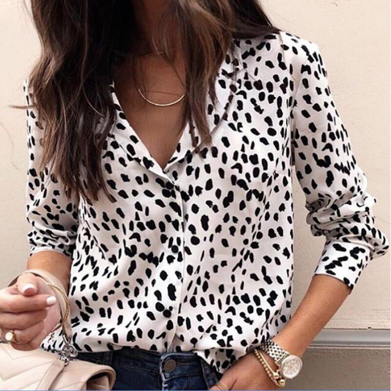 Sexy Leopard Blouse Women Long Sleeve V Neck Shirt Ladies OL Party Tops Dames Streetwear Blusas Plus Size 2XL 3XL