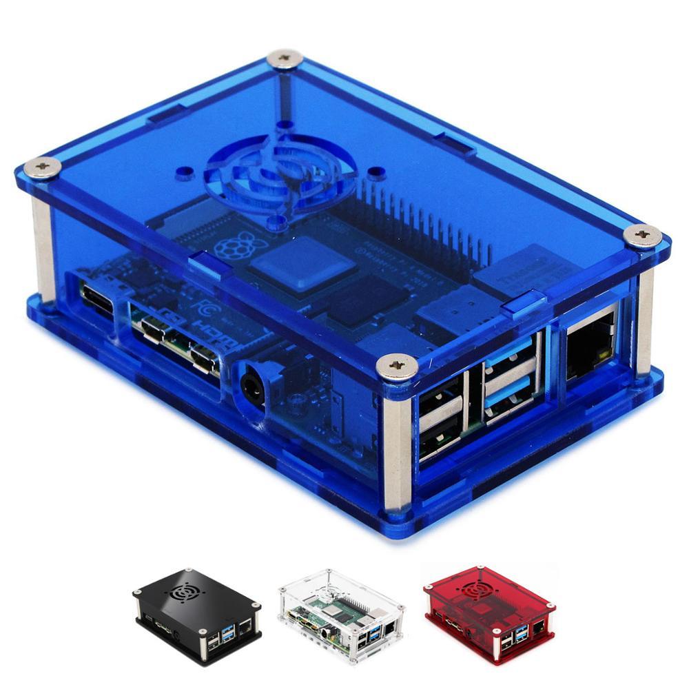 Caja de acrílico PMMA para Raspberry PI 4 Modelo B 1 GB/2 GB/4 GB caja de plástico cubierta de carcasa de Raspberry PI 4 B PI4 4B