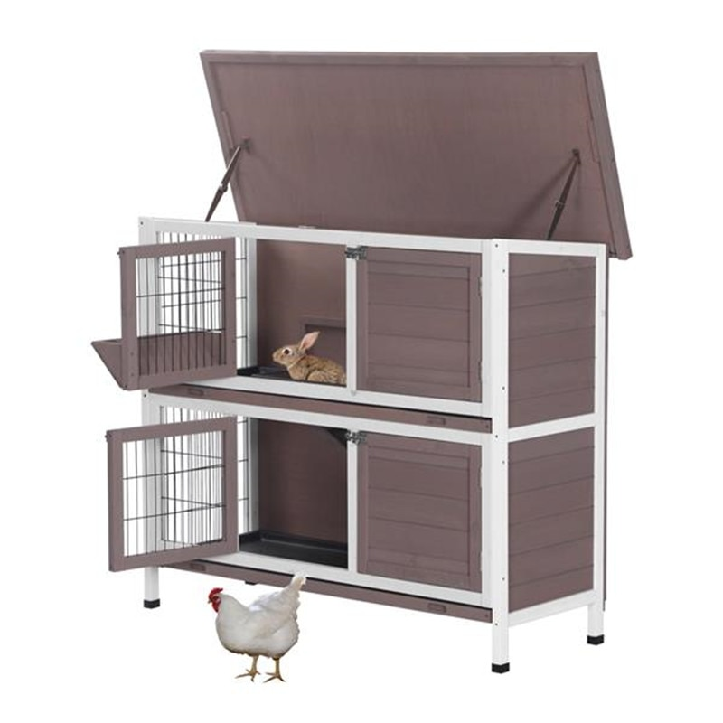 "48 ""dos pisos de madera conejo Hutch Rabbit Hutch gallinero casa de madera camello maravilloso hogar para mascotas"