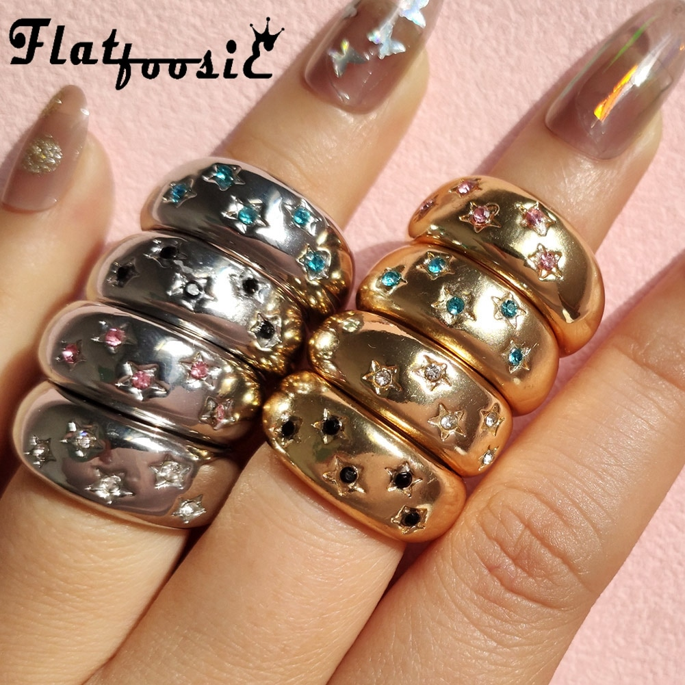 Flatfoosie Vintage Star Rings For Women Boho Gold Silver Color Carved Star Crystal Chunky Finger Rings 2021 Fashion Jewelry Gift
