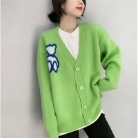 cardigan womens 2021 spring new v neck loose outer wear knitted outer wear