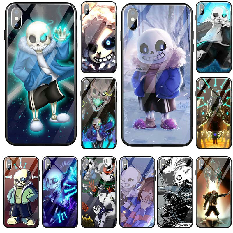 Funda dura para teléfono móvil de vidrio templado TPU para iPhone 5 y 5s SE X XR XS Max 8 7 6 6S Plus 7Plus 8Plus funda Undertale Sans