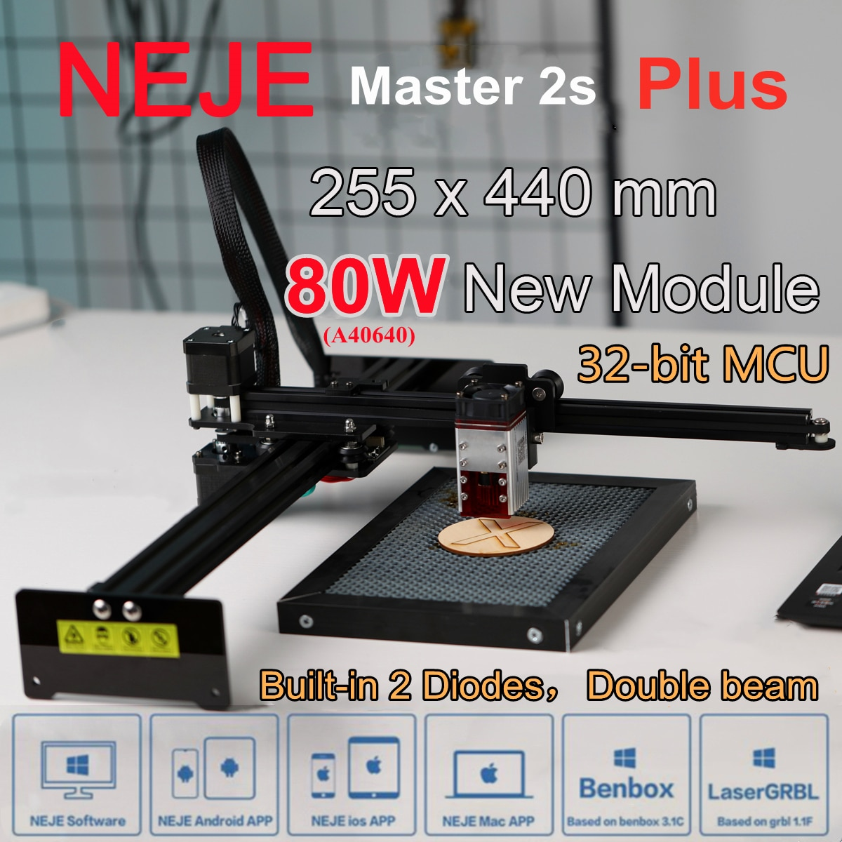 NEJE 80W Laser Engraving Cutting Machine Wood Engraver Cutter CNC Router with 2 Diodes LaserGRBL,Lightburn,Bluetooth-APP Control neje master 2s max 80w cnc double beam laser engraver cutter engraving cutting machine bluetooth lasergrbl lightburn 460x810mm