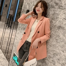 Spring New Korean Style Small Suit Mid-Length Loose All-Matching Long Sleeve Coat Women Blazer Femme