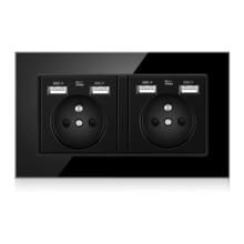 FR Standard prise murale adaptateur prise, 16A Double USB électrique Double prise interrupteur 146mm * 86mm, panneau de verre, blanc, 110-250V