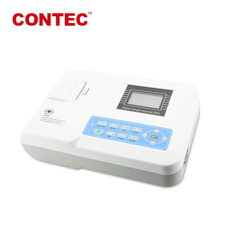 CONTEC ECG100G المحمولة 1 قناة 12 يؤدي ECG رسم القلب آلة + طابعة القلب