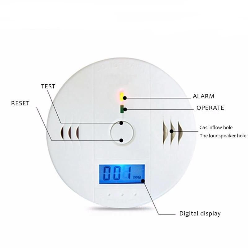 CO Sensor Monitor Carbon Monoxide Alarm CO Detector Carbon Monoxide Poisoning Gas Voice Warn For Home Security Automatic Alarm