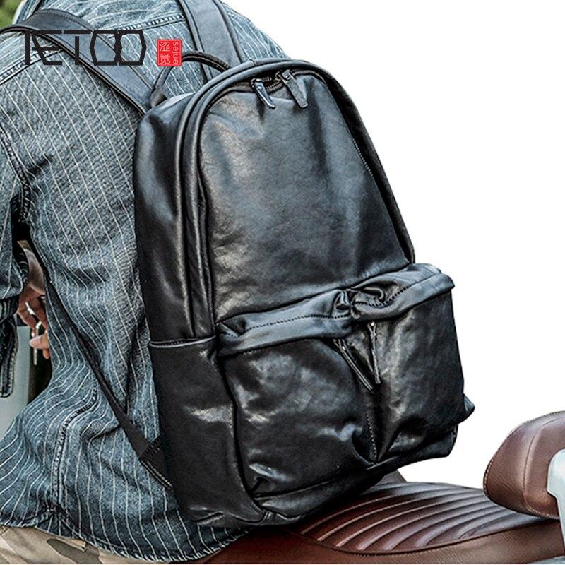 AETOO جلدية الكتف حقيبة ، رئيس جلد الرجال السفر حقيبة ، عارضة اليدوية مصنع دباغة الجلود حقيبة ، خمر الاتجاه الرجال حقيبة