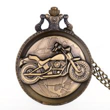 Reloj De bolsillo De bronce para motocicleta, cadena colgante collar con, motocicleta Vintage, reloj De bolsillo De cuarzo, regalo Unisex, reloj De bolsillo