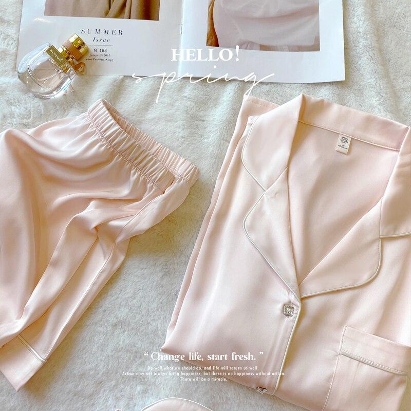 Minimalist Temperament  Silk Pajama Suit  2021 New High Quality  Pajamas Women's Short Sleeved Home Clothes Set