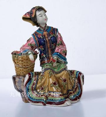 Regalo clásico de cerámica de Shiwan de amor para mujer, sala de estar, estante antiguo para chica, figura de belleza, escultura, estatua, arte decora para el hogar