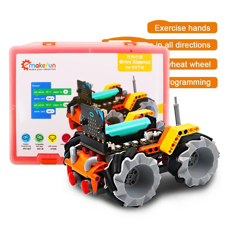 Kit de voiture Robot intelligent Xiaomai pour Micro: kit éducatif de robotique de bit, programmation de Makecode de soutien, APP et télécommande infrarouge