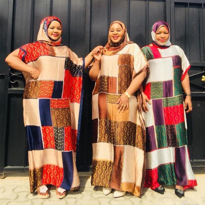 فستان شيفون حرير أفريقي مع وشاح للنساء ، الطول: 150 سنتيمتر ، تمثال نصفي: 190 سنتيمتر ، مقاس كبير ، مجموعة جديدة