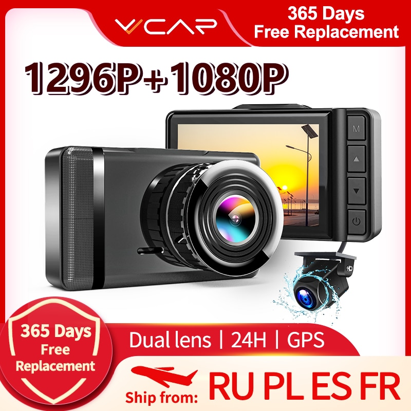 VVCAR F3 جهاز تسجيل فيديو رقمي للسيارات كاميرا كاملة HD 1296P سرعة N لتحديد المواقع داشكام مسجل فيديو الخلفية AHD 1080P داش كام المسجل