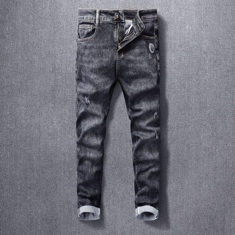 Новые винтажные модные мужские джинсы высокого качества ретро черные серые зауженные рваные джинсы мужские дизайнерские повседневные джи...