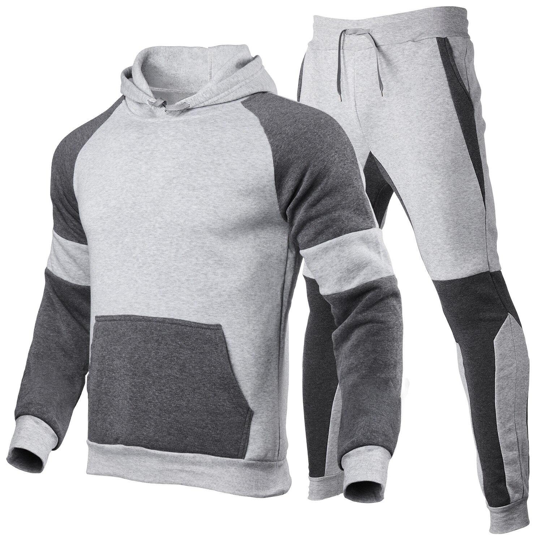 Men's Tracksuit Jogging Suit Side Stripe Hoodie Set Men's Wool Hoodie and Pants Men's Workout Clothe