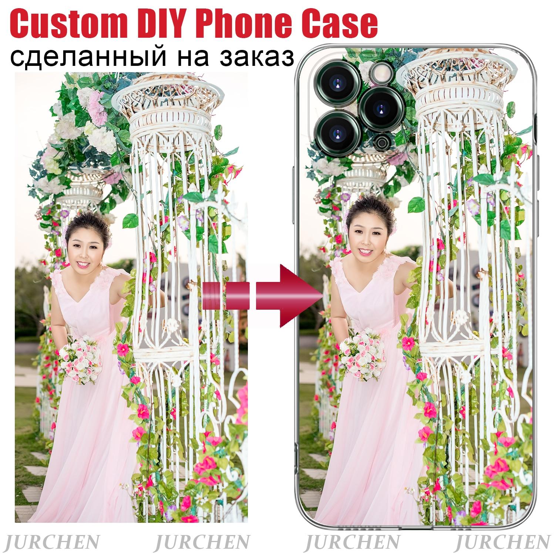 Jurchen ultra fino claro caso do telefone para o iphone 11 pro xs max x 8 7 6s mais 11 xr caso personalizado foto transparente capa traseira macia