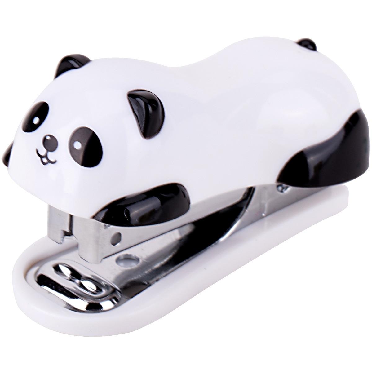 Engrapadora de bolsillo Deli 0453 Mini grapadora de dibujos animados con grapas para estudiantes material escolar panda encantador