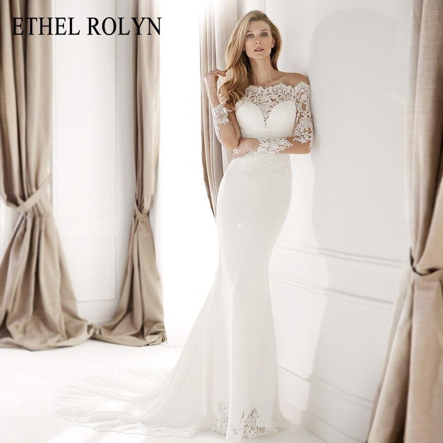 ETHEL ROLYN suave satén sirena vestidos De boda 2020 Vestido De novia manga larga cuello barco Apliques De encaje botón vestidos De novia