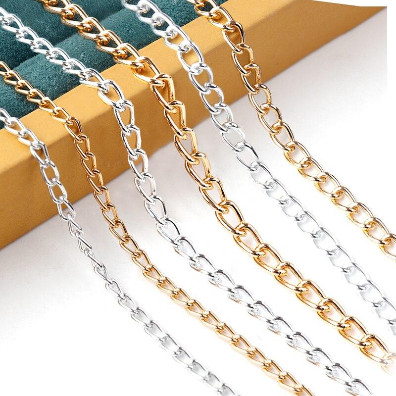 5 м/лот, алюминиевые витые цепи, оптом, подходят для ожерелья, браслеты для самостоятельного изготовления ювелирных изделий, материалы, това...