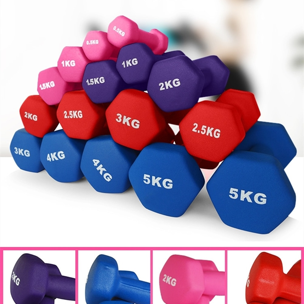 1 Pair Women Hexagonal Dumbbells Weight Loss Slimming Waist for Aerobics Yoga Fitness Muscle Building and Shape 1.5/2/3/4/5kg
