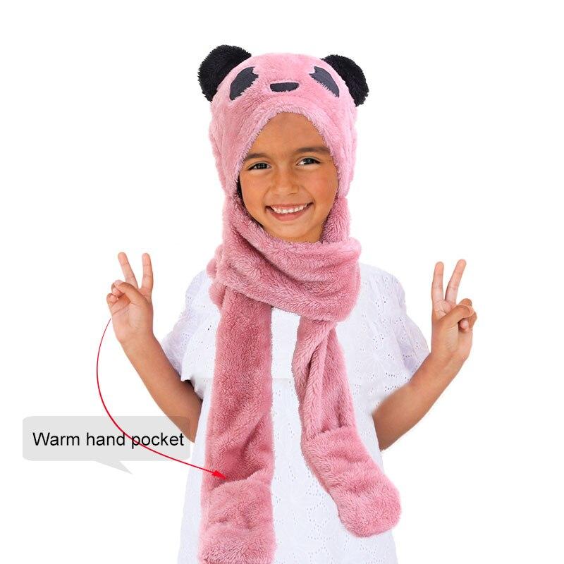 Nuevos niños adolescentes niñas 3 en 1 cálido felpa mullido dibujos animados invierno sombreros bufanda guantes Mitten con bolsillos Sudadera con capucha gorra traje de regalo