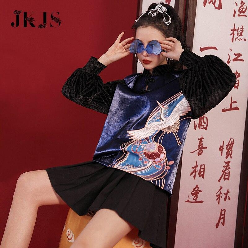 Женская зимняя одежда Tang, улучшенная Китайская одежда, топы в китайском стиле Ципао, Женская Новогодняя одежда