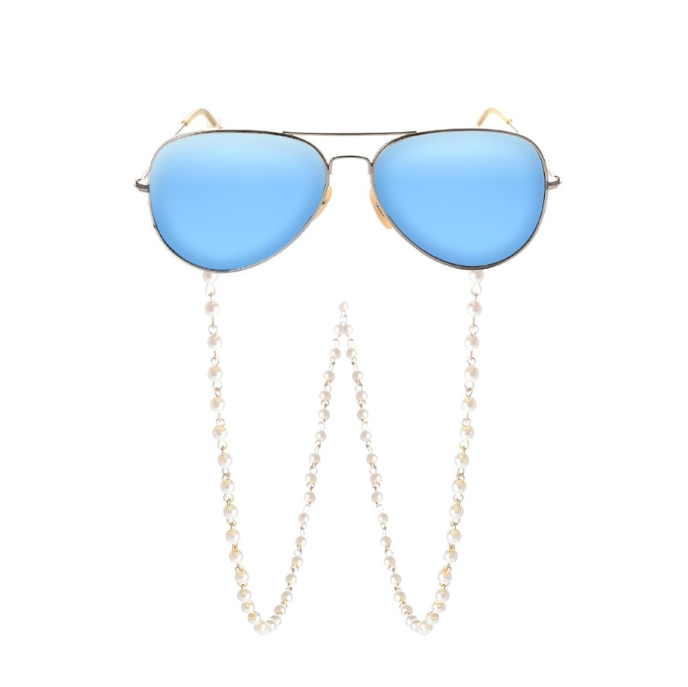 Fashion White Imitation Pearl Glasses Chains Beaded Sunglass Reading Eyeglasses Chain Cord Holder Ro