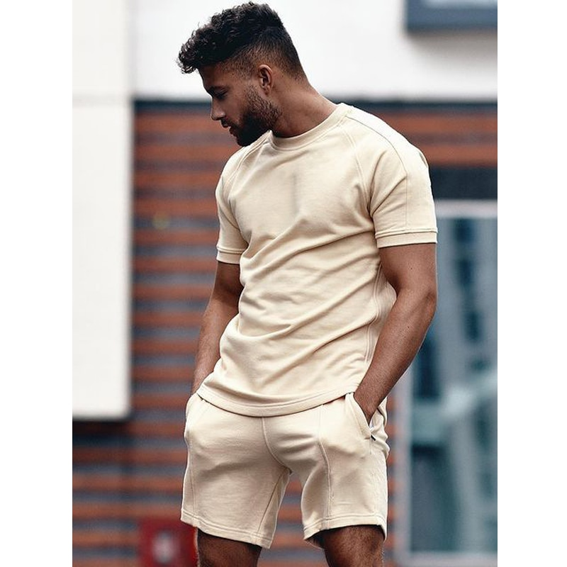 Men's Athletic Shirts and Shorts Outfits Short Sleeve Activewear Sports Set Summer Casual Tracksuit