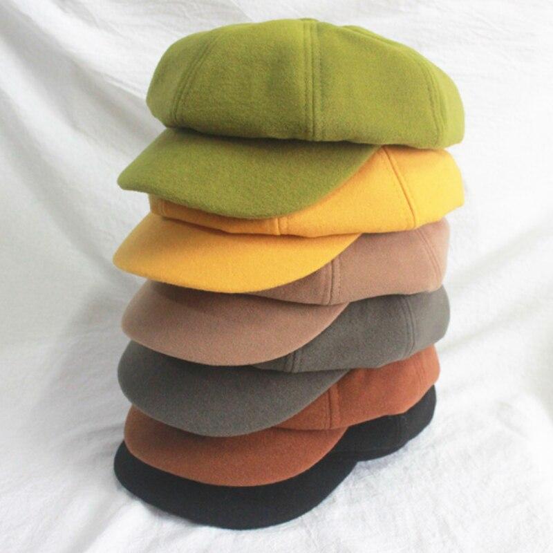 Wool Women's Beret Autumn and Winter Octagonal Hat Hat Fashion Artist Painter Newsboy Hat Pumpkin Ha