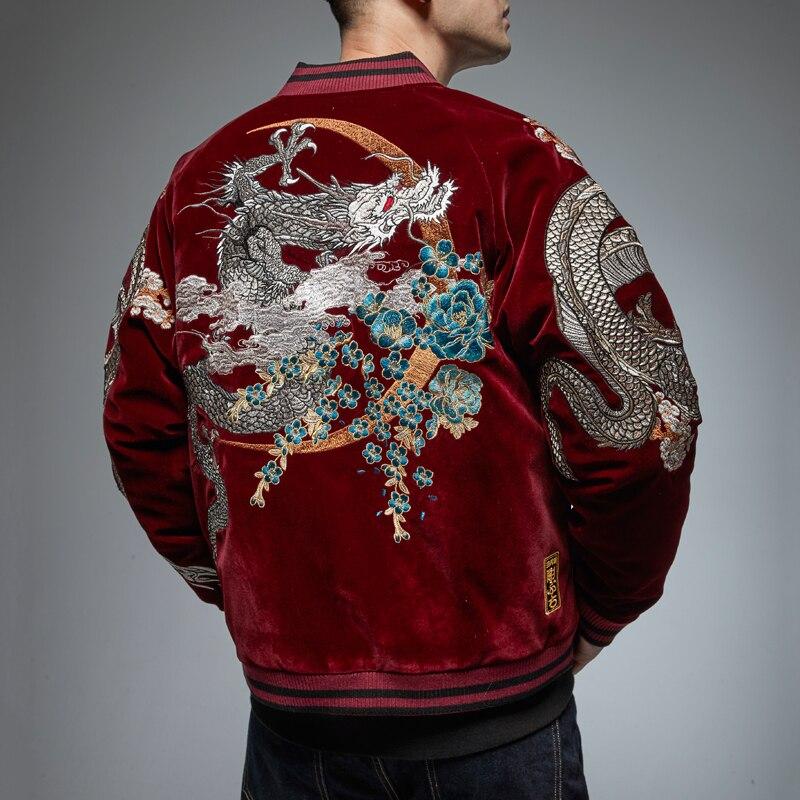 جديد النمط الصيني الصناعة الثقيلة المطرزة التنين سترة الخريف والشتاء معطف سميك المد العلامة التجارية الرجال شخصية سترة 3XL
