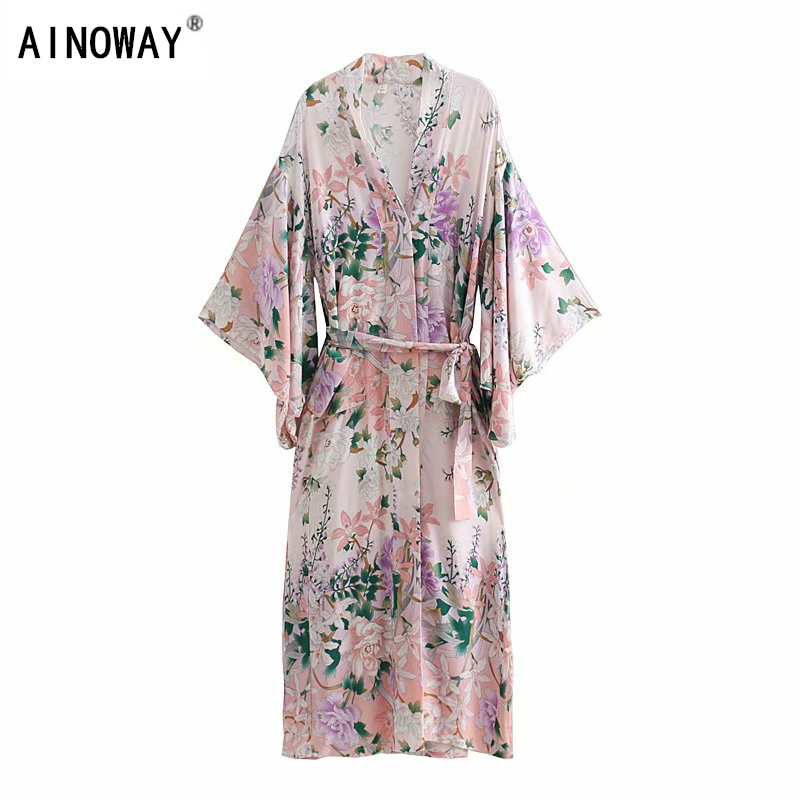 Vintage chic mujeres floral estampado bat manga playa kimono bohemio vestidos túnica señoras cuello pico borla verano Boho vestidos