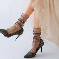 fashion star moon tulle socks women transparent woman socks female ultra thin chiffion socks long dress streetwear calcetines