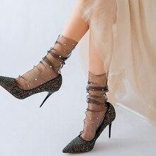 Mode étoile lune Tulle chaussettes femmes Transparent mince longues chaussettes robe femme dentelle drôle chaussettes robe chaussette Streetwear calcetines