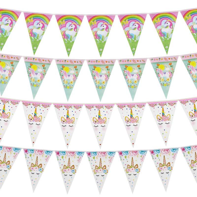 Paper Unicorn 1st Birthday Banner Happy Birthday Party Decorations Kids Little Mermaid Flag Baby Shower Banner Wedding Garland