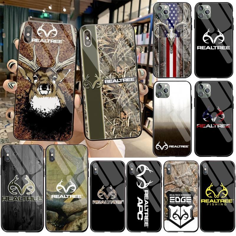 Cutewanan camuflagem americana marca realtree caso de telefone vidro temperado para iphone 11 pro xr xs max 8x7 6s 6 plus se 2020 caso