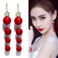 2020 new fashion retro earrings exaggerated long size pearls temperament wild long tassel earrings