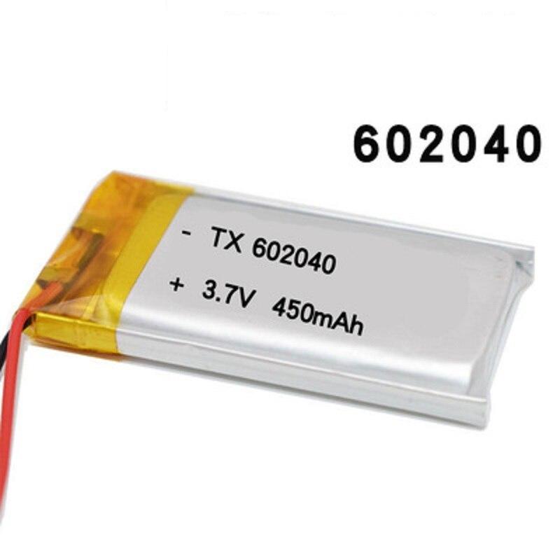 Alta calidad 602040 3,7 v 450mAh alta capacidad recargable li-po li-polímero batería de iones