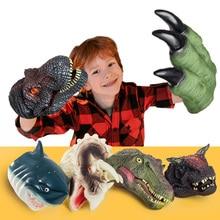 Guantes de dinosaurios para niños y adultos, guantes de cabeza de dinosaurio de batalla, garras de Velociraptor, accesorios de Anime, títeres de mano de dragón, regalos para niños