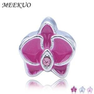 Pink Enamel Kapok Charm Beads fit Bracelet Female Beads Jewelry Making
