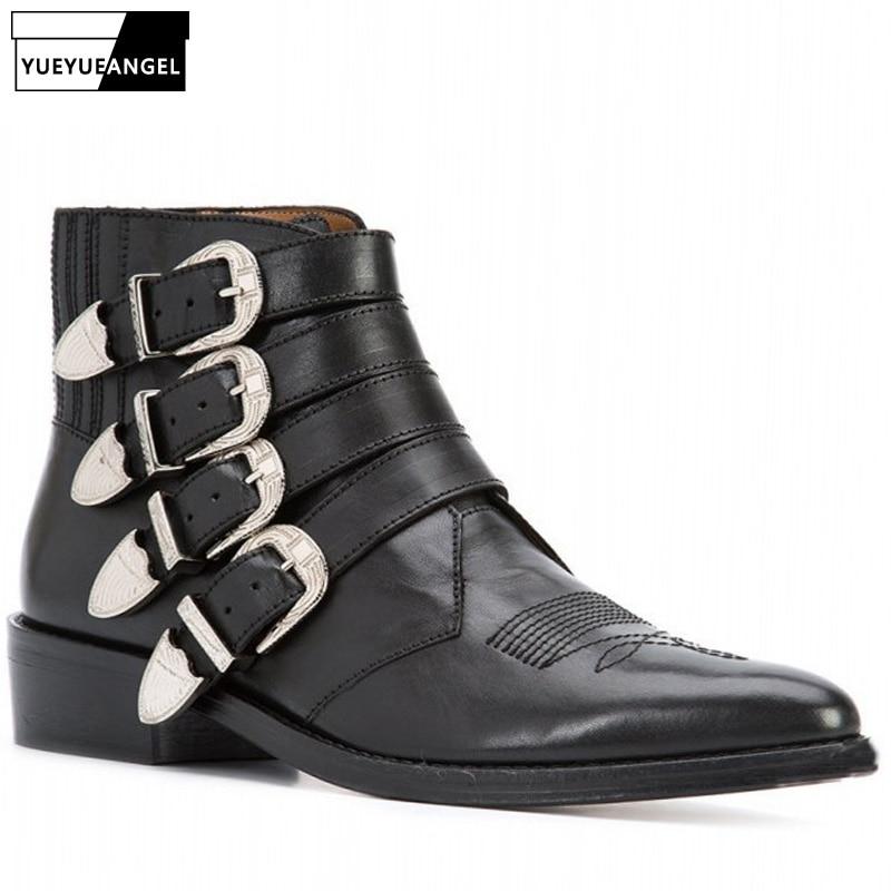 حذاء رعاة البقر بإبزيم للرجال ، أحذية أمان عالية الجودة لراكبي الدراجات النارية ، جلد البقر ، تشيلسي ، إصبع مدبب