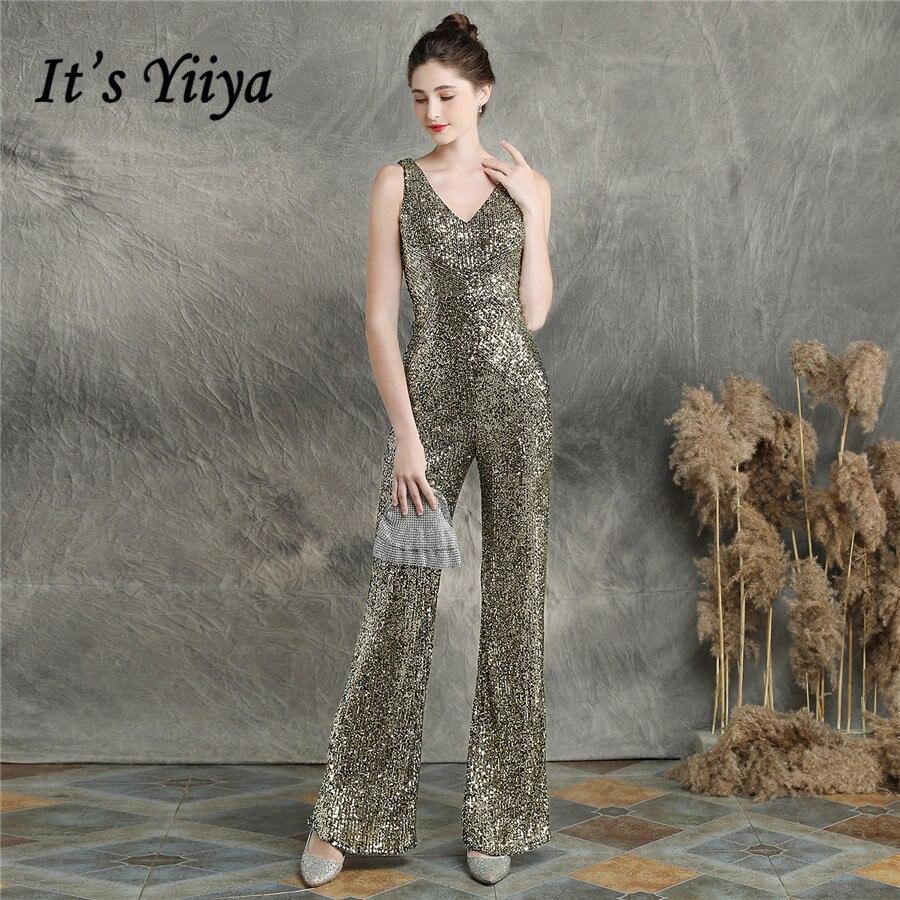 It's Yiiya-فستان سهرة مزين بالترتر بدون أكمام ، بدلة برقبة على شكل v ، مقاس كبير ، لون سادة ، ثوب مسائي ، بدون أكمام ، سحاب ، DX252 ، 2020