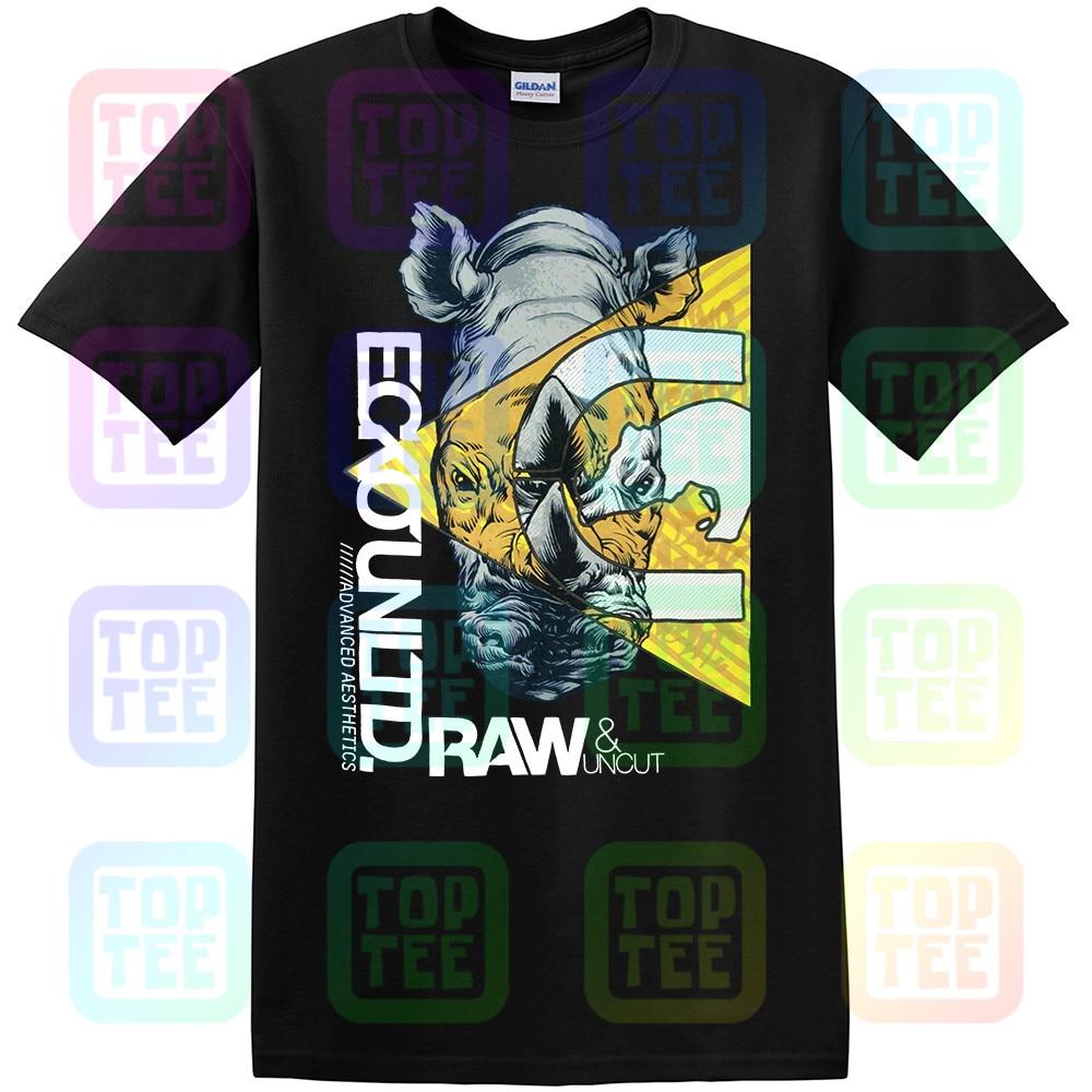 Новая уличная футболка Ecko Unltd Raw & Uncut Rhino с блестящими буквами-B559 Новая мода для мужчин и женщин размер S-3XL