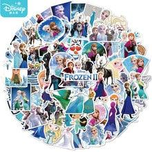 Disney-pegatinas de princesa Frozen para niños, dibujos animados bonitos, guitarra, equipaje, pegatina impermeable, monopatín, portátil, papelería, juguete, 50 Uds.