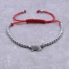 2020 Fashion Animal Sea Turtle Shell Bracelet for Women Men Adjustable Red Rope Beads Bracelet Christmas Jewelry Pulsera Roja