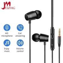 MEUYAG 3.5mm Wired Headset with Microphone earloop Stereo Waterproof Sports Music Headphones For jog