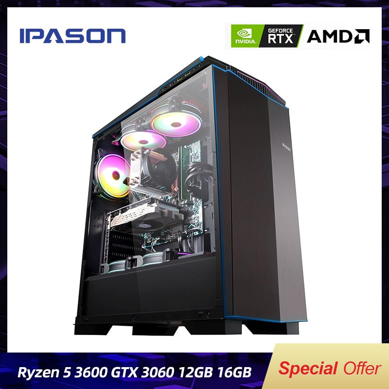 IPASON Gaming PC AMD 6-Core R5 3600 RTX3060 12G DDR4 16G RAM 500G M.2 Water-Cooled Gaming Desktop Computers Assembly Gaming PC
